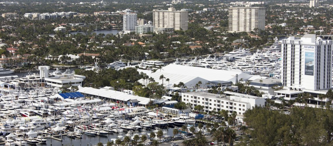 Aerial view of the 2017 Fort Lauderdale Boat show Fort Lauderdale Florida photograph taken Oct. 31 2017